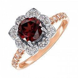 Кольцо в красном золоте с гранатом и фианитами 000104172