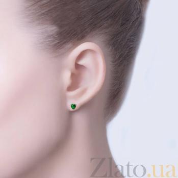 Серебряные пусеты с зеленым цирконием Сердце AQA--2202072/7G