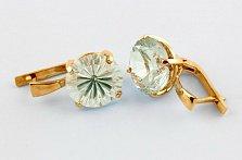 Золотые серьги с зелеными аметистами Диодора