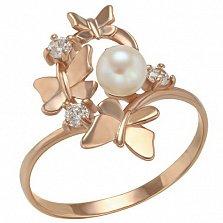 Золотое кольцо Летний вальс с жемчугом и фианитами