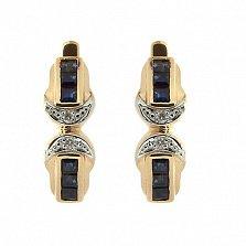Золотые серьги с бриллиантами и сапфирами Магда