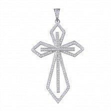 Серебряный декоративный крест Образ с белым цирконием