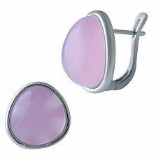 Серебряные серьги Розовый пузырь счастья с кварцем и родием