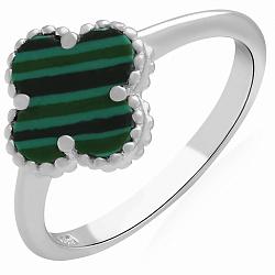 Серебряное кольцо Весенний клевер с малахитом 000120340