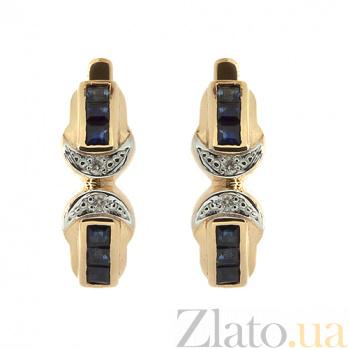 Золотые серьги с бриллиантами и сапфирами Магда ZMX--ES-6040_K
