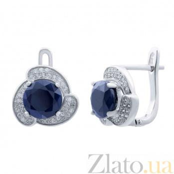 Серебряные серьги с сапфирами и фианитами Цветение AQA--E01073S