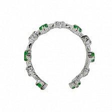 Серебряная серьга-кафф с бриллиантами и изумрудами Лаура