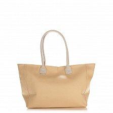 Кожаная сумка на каждый день Genuine Leather 8013 светло-кофейного цвета на молнии