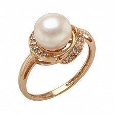 Кольцо в красном золоте Эмма с жемчугом и фианитами