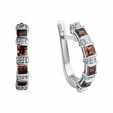 Серебряные серьги Маркиза с бриллиантами и раухтопазами