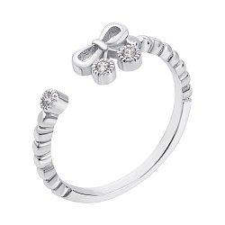 Серебряное разомкнутое кольцо с фианитами 000135180