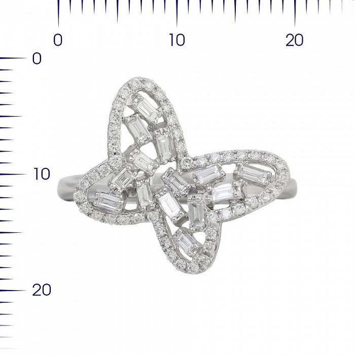 Кольцо из белого золота Снежная бабочка с бриллиантами 000081025