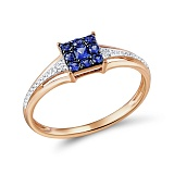 Кольцо из золота с сапфирами и бриллиантами Симона