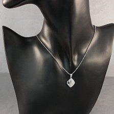 Серебряная подвеска Жанье с усыпкой из белых фианитов