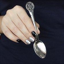 Серебряная чайная ложка Трезубец в круге из зерен пшеницы