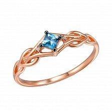 Золотое кольцо Магда в красном цвете с ажурной шинкой, топазом и бриллиантами