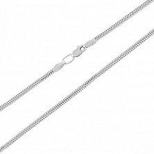 Золотой браслет Жанна плетения круглый снейк в белом цвете, 1,5мм