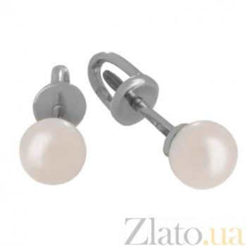 Золотые сережки-пуссеты с жемчугом Перлита VLN--213-1716*