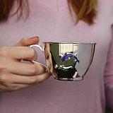 Серебряная чашка Дельфин с эмалью, 200мл