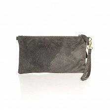 Кожаный клатч Genuine Leather 8070 серого цвета с цветной вставкой и короткой ручкой для запястья