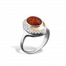 Серебряное кольцо Роксана с золотой накладкой, янтарем, фианитами и родием
