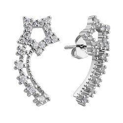 Серебряные серьги-пуссеты с фианитами 000132416