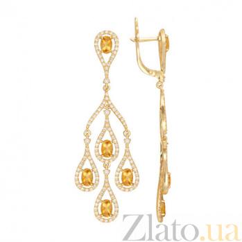 Серьги Патриция в желтом золоте с лимонными цирконами VLT--ТТТ2398