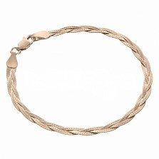 Серебряный позолоченный браслет Луанда толщиной 3,5мм, размер 19