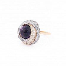 Золотое кольцо Каталина с фиолетовым и белыми фианитами