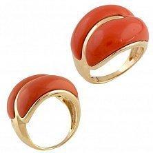 Серебряное кольцо Роксана с красным кораллом
