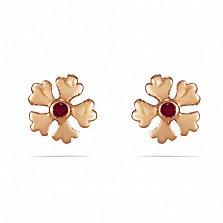 Золотые серьги-пуссеты Пятилитники с завльцованными синтезированными рубинами