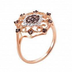 Кольцо из красного золота с коньячными и белыми фианитами 000133072