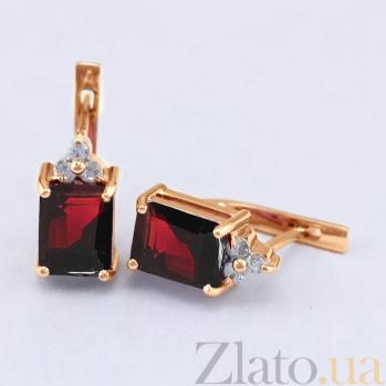 Золотые сережки с гранатами и фианитами Анжиолетта VLN--113-1328-3