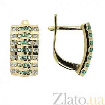 Золотые серьги с бриллиантами и изумрудами Латона 000021896