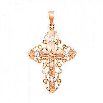 Крестик из красного золота с бриллиантами 000126137