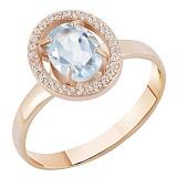 Золотое кольцо Рандеву с голубым топазом и цирконием