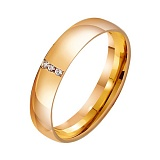Золотое обручальное кольцо Свадебная классика с фианитами