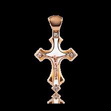 Детский золотой крестик Solomia с бриллиантами и белой эмалью
