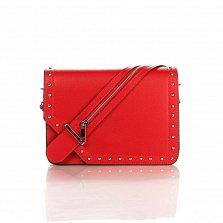 Кожаный клатч Genuine Leather 1729 красного цвета с декоративной пряжкой на клапане
