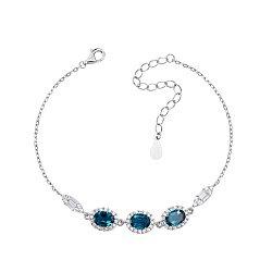 Серебряный браслет с голубыми топазами и фианитами 000117790