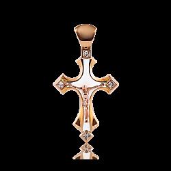 Детский золотой крестик Solomia с бриллиантами и белой эмалью 000068685