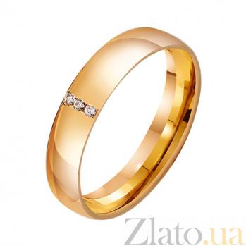 Золотое обручальное кольцо Свадебная классика с фианитами TRF--412911