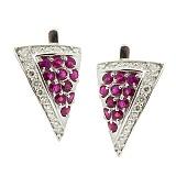 Серебряные серьги с бриллиантами и рубинами Косынка