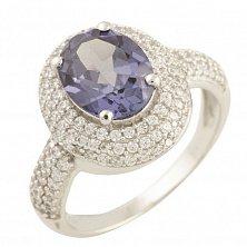 Серебряное кольцо Отблеск заката с александритом и фианитами