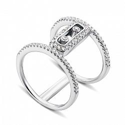 Двойное серебряное кольцо с фианитами 000136003