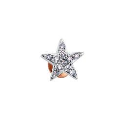 Золотая серьга-пуссета Звездочка в комбинированном цвете с бриллиантами