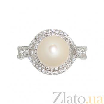 Серебряное кольцо с жемчугом и фианитами Снежана 3К543-0103