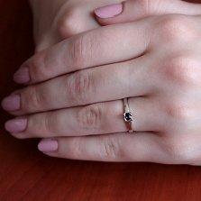 Золотое кольцо Аманда в белом цвете с сапфиром