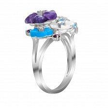 Золотое кольцо с аметистами, бирюзой, перламутром, родолитами и бриллиантами Лирика