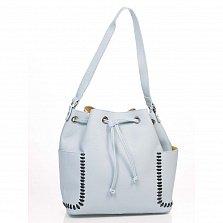 Кожаная сумка на каждый день Genuine Leather 8926 голубого цвета с нашивными карманчиками